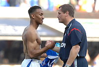 Photo: Ashley Pickering.<br /> Ipswich Town v Derby County. Coca Cola Championship. 14/04/2007.<br /> Danny Haynes is congratulated by Ipswich manager Jim Magilton after he scores the winning goal