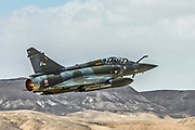 "France Air Force MIRAGE 2000D in flight. Photographed at the  ""Blue-Flag"" 2017, an international aerial training exercise hosted by the Israeli Air Force in Ouvda airfield, Israel November 2017"