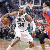 26 May 2012: Boston Celtics small forward Paul Pierce (34) dribbles from Philadelphia Sixers small forward Andre Iguodala (9) during the Boston Celtics 85-75 victory over the Philadelphia Sixer, in Game 7 of the Eastern Conference semifinals playoff series, at the TD Banknorth Garden, Boston, Massachusetts, USA.