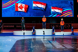 Suzanne Schulting of Netherlands gold medal, Courtney Sarault of Canada silver and Xandra Velzeboer of Netherlands bronze medal on 1500 meter during ceremony ISU World Short Track speed skating Championships on March 06, 2021 in Dordrecht