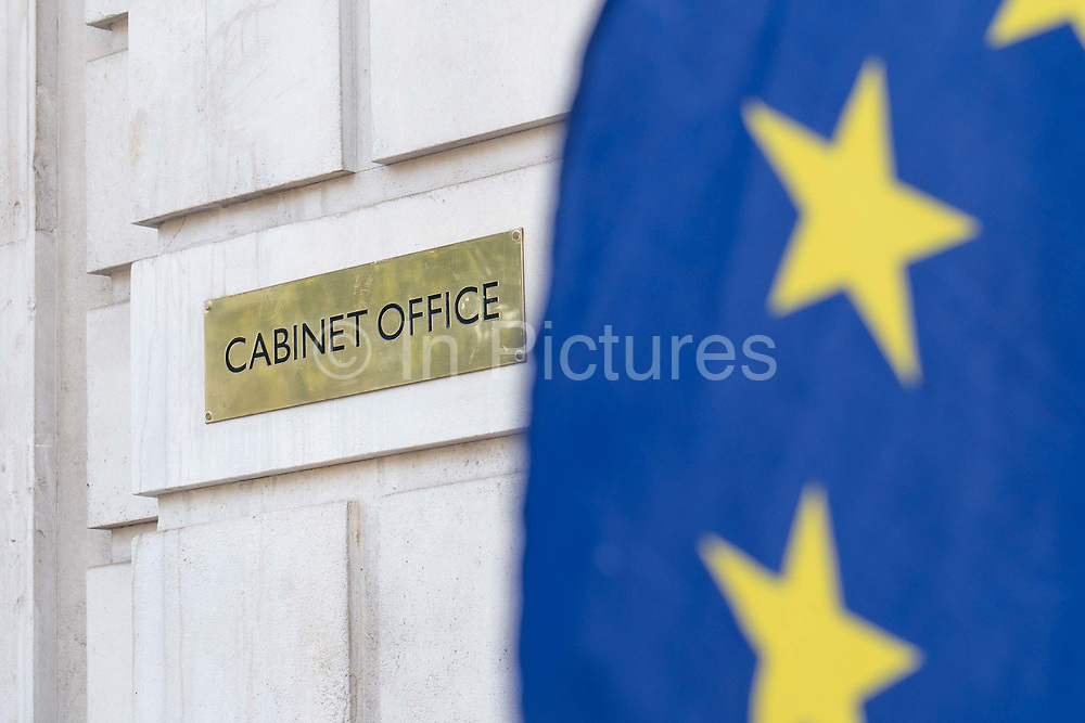 TheCabinet Office at Whitehall with a European Union flag in the foreground on the 29th August 2019 in London in the United Kingdom. The Cabinet Office is a department of the Government of the United Kingdom responsible for supporting the Prime Minister and Cabinet of the United Kingdom.