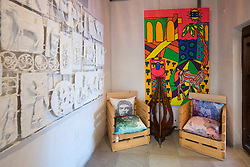Art works on display at Alserkal Cultural Foundation gallery in Bastakiya old district of Dubai United Arab Emirates