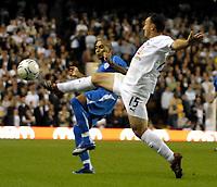 Photo: Ed Godden/Sportsbeat Images.<br /> Tottenham Hotspur v Anorthosis Famagusta. UEFA Cup, First Leg. 20/09/2007. Spurs' Steed Malbranque (R), makes a challenge on Fabio De Matos Pereira.