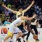 Fenerbahce Ulker's Emir PRELDZIC (B), Omer ONAN (L) during their Turkish Basketball league semi final second leg match Fenerbahce Ulker between Banvit at Abdi Ipekci Arena in Istanbul, Turkey, Wednesday, May 12, 2010. Photo by TURKPIX