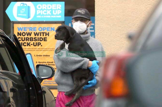 """EXCLUSIVE: Shia LaBeouf and Mia Goth are both seen leaving Petco with a puppy wearing gloves and mask amid the Covid-19 and are also seen parking in a """" No Parking """" zone in Pasadena. Shia LeBeouf is also spotted kissing his puppy despite the advice to not to kiss your pets. 18 Apr 2020 Pictured: Shia LaBeouf and Mia Goth. Photo credit: 007 / MEGA TheMegaAgency.com +1 888 505 6342"""