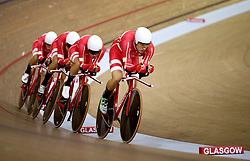 Denmark Men Team Pursuit led by Rasmus Pedersen during day one of the 2018 European Championships at the Sir Chris Hoy Velodrome, Glasgow. PRESS ASSOCIATION Photo. Picture date: Thursday August 2, 2018. See PA story SPORT European. Photo credit should read: John Walton/PA Wire. RESTRICTIONS: Editorial use only, no commercial use without prior permissionduring day one of the 2018 European Championships at the Sir Chris Hoy Velodrome, Glasgow. PRESS ASSOCIATION Photo. Picture date: Thursday August 2, 2018. See PA story SPORT European. Photo credit should read: John Walton/PA Wire. RESTRICTIONS: Editorial use only, no commercial use without prior permission