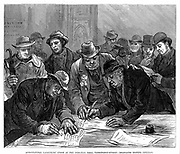 Agricultural Labourers' Union meeting in Farringdon Street, London, 1877.  Led by Joseph  Arch and inaugurated at Leamington in 1872, the movement quickly spread, Members shown signing petition for extension of the franchise. Wood engraving.