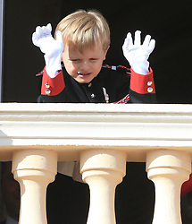 The royal family of Monaco posing at the balcony of the Grimaldi castle for the National Day festivities on November 19th 2019.
