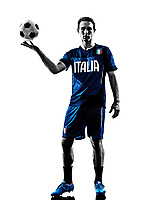 one italian soccer player man playing football in silhouette white background