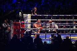 29 April 2017 - Boxing - Anthony Joshua v Wladimir Klitschko (IBF and WBA heavyweight) - The Referee counts down Klitschko after he is knocked down by Joshua - Photo: Marc Atkins / Offside.