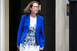 London, UK. 7 May, 2019. Baroness Evans of Bowes Park, Leader of the House of Lords and Lord Privy Seal, leaves 10 Downing Street following a Cabinet meeting.