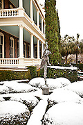 A rare snow blankets the battery Charleston, SC
