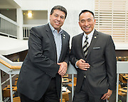 Chuck Page, left, and Peter Kuo pose for a portrait during the Silicon Valley NAIFA 58th Annual Sales Congress at The Domain Hotel in Sunnyvale, California, on March 28, 2014. (Stan Olszewski/SOSKIphoto)