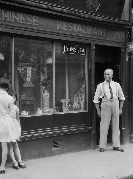 Man Standing Outside Chinese Restaurant, Chinatown, London, 1933