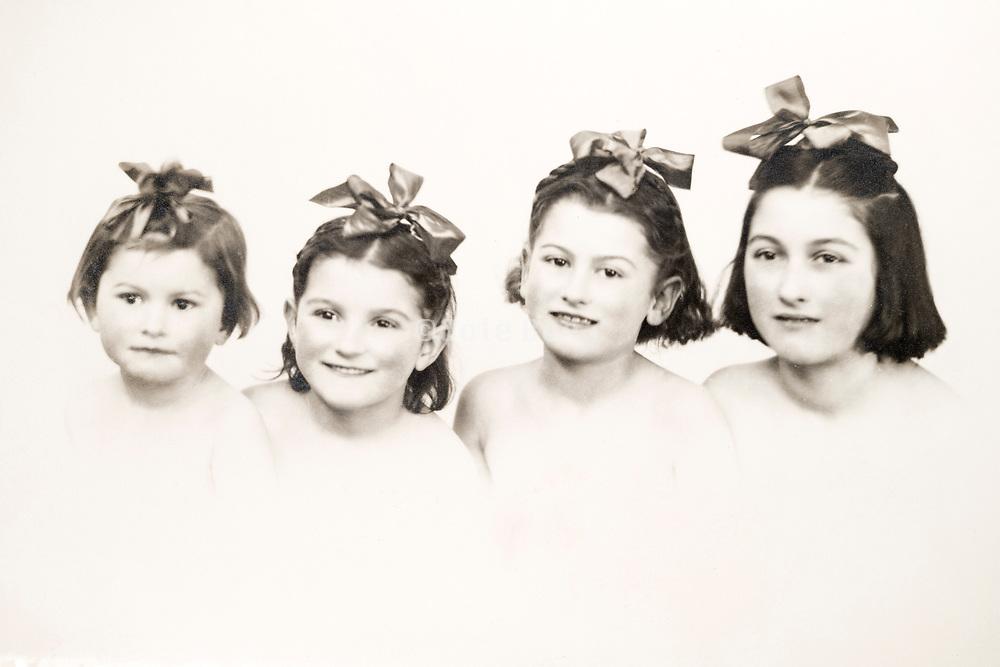 studio portrait with four girls