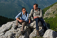 Neil Birnie and Matt McLuckie, from the Enterprise team of Rewilding Europe, Hikers in the Central Apennines rewilding area, Italy, in and around the Abruzzo, Lazio e Molise National Park.