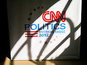 "22 FEBRUARY 2012 - MESA, AZ: The CNN logo in the ""Spin Room"" at the Mesa Arts Center before CNN's Arizona Republican Presidential Debate Wednesday.     PHOTO BY JACK KURTZ"