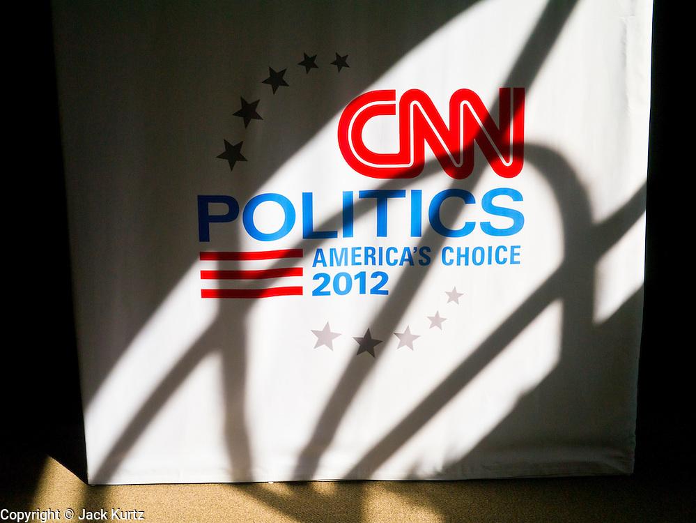 "22 FEBRUARY 2012 - MESA, AZ: The CNN logo in the ""Spin Room"" at the Mesa Arts Center before CNN's Arizona Republican Presidential Debate Wednesday.     PHOTO BY JACK KURTZ"