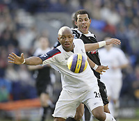 Photo: Aidan Ellis.<br /> Bolton Wanderers v Fulham. The Barclays Premiership. 11/02/2007.<br /> Bolton's El Hadji Diouf (L) battles with Fulham's Liam Rosenior