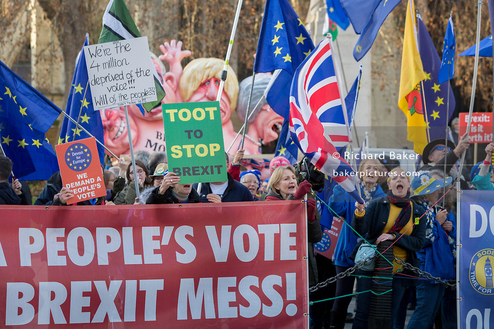 As Prime Minister Theresa May tours European capitals hoping to persuade foreign leaders to accept a new Brexit deal (following her cancellation of a Parliamentary vote), pro-EU Remainers protest with satirical figures opposite the Houses of Parliament, on 11th December 2018, in London, England. The figures depict (L-R) David Davies, Michael Gove, Boris Johnson and Theresa May.