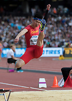 Athletics - 2017 IAAF London World Athletics Championships - Day One<br /> <br /> Event: Men's Long Jump Qualifying<br /> <br /> Changzhou Huang stretches as he leaps from the line <br /> <br /> COLORSPORT/DANIEL BEARHAM