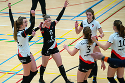 (L-R) Emma Bredewoud of Apollo 8, Juliët Huisman of Apollo 8, Florien Reesink of Apollo 8, Rianne Vos of Apollo 8 celebrate during the first league match between Laudame Financials VCN vs. Apollo 8 on February 06, 2021 in Capelle aan de IJssel.