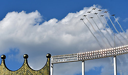 May 29, 2017 - Kansas City, MO, USA - Members of the KC Flight Team fly over Kauffman Stadium at the end of the national anthem before a game between the Kansas City Royals and Detroit Tigers on Monday, May 29, 2017 at Kauffman Stadium in Kansas City, Mo. (Credit Image: © John Sleezer/TNS via ZUMA Wire)