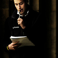 (NOT FOR SERVICE ) Prince William stops in St Salvators Quad in St Andrews University.Picture David Cheskin.