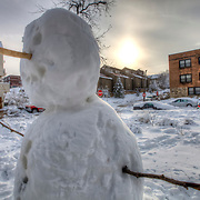 Snowman near Roanoke Parkway and Belleview, Kansas City MO after heavy snow, February 2013.