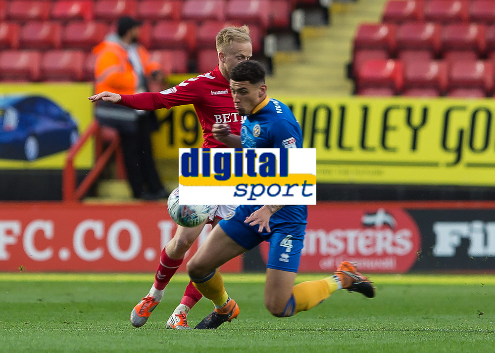 Football - 2017 / 2018 Sky Bet EFL League One - Play-Off Semi-Final, First Leg: Charlton Athletic vs. Shrewsbury Town<br /> <br /> Ben Godfrey (Shrewsbury Town FC) cuts across Ben Reeves (Charlton Athletic FC) to break up the attack at The Valley<br /> <br /> COLORSPORT/DANIEL BEARHAM