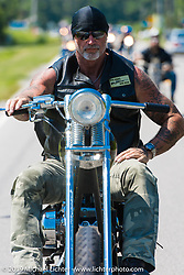 """The Horse Magazine publisher Ralph """"Hammer"""" Janus enjoying the ride from Suck, Bang, Blow in Murrells Inlet, SC to Rockingham, NC for the Smokeout 2015. USA. June 18, 2015.  Photography ©2015 Michael Lichter."""