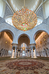 Interior of Sheikh Zayed Grand Mosque in Abu Dhabi United Arab Emirates