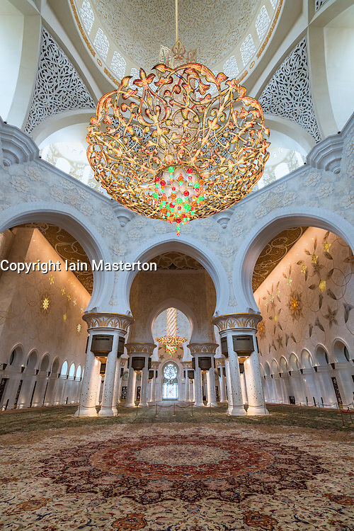Interior of Sheikh Zayed Grand Mosque in Abu Dhabi United Arab Emirates