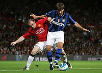 Photo: Paul Thomas.<br /> Manchester United v Inter Milan. Pre Season Friendly. 01/08/2007.<br /> <br /> Maxwell (R) battles with Wayne Rooney of Utd.