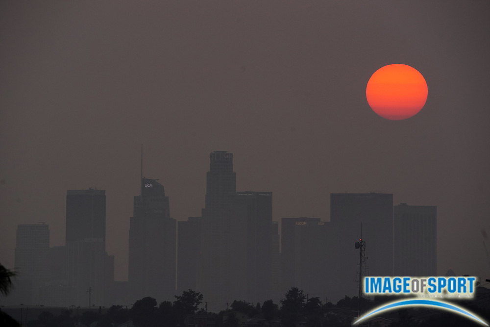Sunset over downtown Los Angeles skyline in skies darkened by California wildfires, Tuesday, Sept 15, 2020.