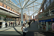 Lower Precinct Shopping Centre in the UK City of Culture 2021 on 23rd June 2021 in Coventry, United Kingdom. Coventrys Lower Precinct is a glass-covered shopping area and part of the post-war city centre pedestrianised zone. The area has seen a great deal of development in recent years with the addition of a glass roof and modernisation. The UK City of Culture is a designation given to a city in the United Kingdom for a period of one year. The aim of the initiative, which is administered by the Department for Digital, Culture, Media and Sport. Coventry is a city which is under a large scale and current regeneration.