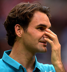 Tennis player Roger Federer of Switzerland wins in two sets against Grega Zemlja of Slovenia at ABN AMRO World Tennis Tournament in Rotterdam, Netherlands, on February 13, 2013.  (Photo By Ronald Hoogendoorn / Sportida).