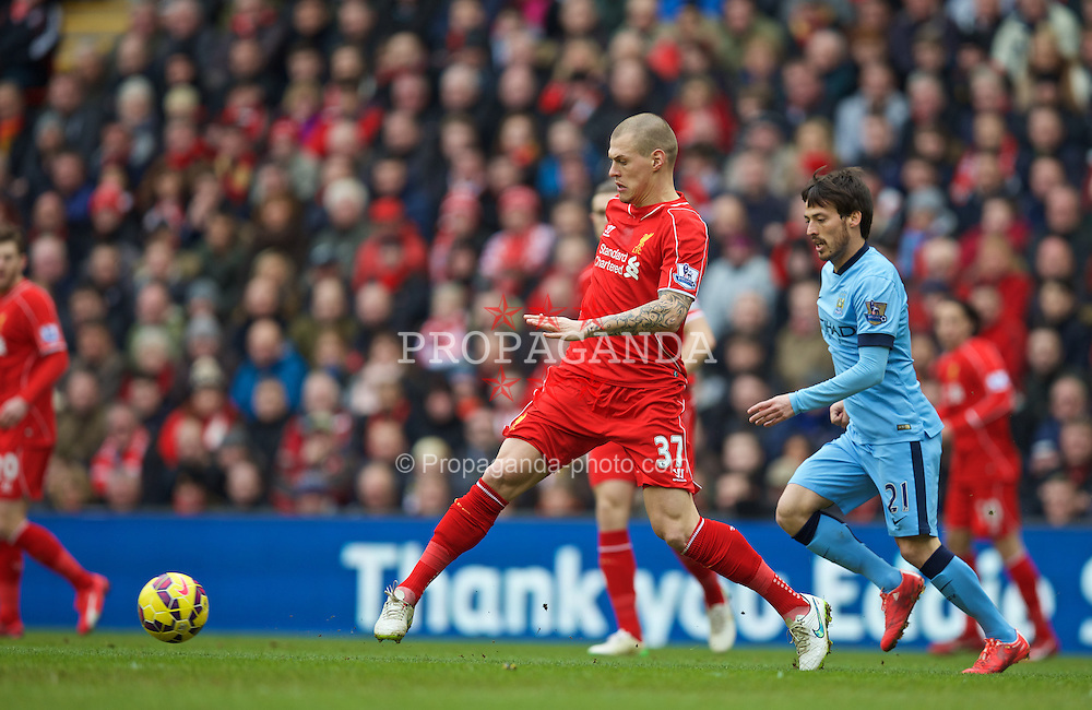 LIVERPOOL, ENGLAND - Sunday, March 1, 2015: Liverpool's Martin Skrtel in action against Manchester City during the Premier League match at Anfield. (Pic by David Rawcliffe/Propaganda)