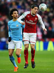 Hector Bellerin of Arsenal and Leroy Sane of Manchester City - Mandatory by-line: Matt McNulty/JMP - 25/02/2018 - FOOTBALL - Wembley Stadium - London, England - Arsenal v Manchester City - Carabao Cup Final