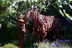 """© Licensed to London News Pictures. 19/05/2014. London, England. Pictured: Joey, the 3 man horse puppet from the theatre production """"War Horse"""" at a photocall in the """"No Man's Land"""" show garden. Press Day at the RHS Chelsea Flower Show. On Tuesday, 20 May 2014 the flower show will open its doors to the public.  Photo credit: Bettina Strenske/LNP"""
