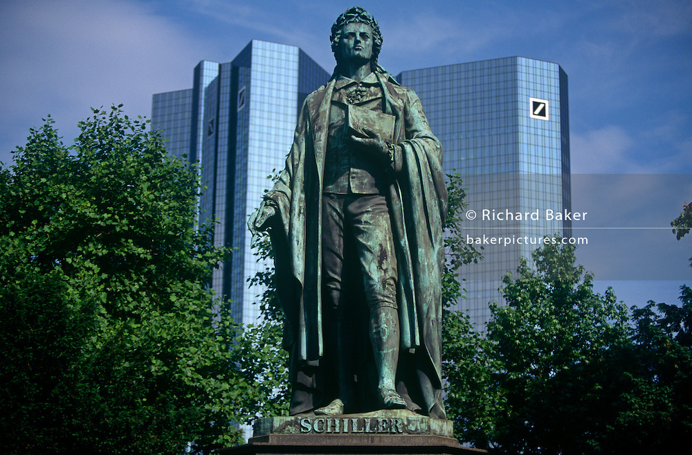 Statue of Johann Christoph Friedrich von Schiller (1759 - 1805) the German poet, philosopher, historian, and playwright. In Friedrich von Schillers honor the city of Frankfurt errected this Memorial on May 9, 1864 at the Hauptwache. The bronze is styled by Johannes Dielmann at the cost of 14,070 Gulden and 17 Kreuzer. 1938 the bronze was moved to the Rathenauplatz. Since 1955 it is situated here at the Taunusanlage.