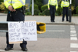 London, UK. 5 September, 2019. A sign posted by activists taking part in a Conference At The Gates (CATG) outside ExCel London on the fourth day of a week-long carnival of resistance against DSEI, the world's largest arms fair. The CATG involved a series of workshops themed around the arms trade in the context of state violence, with a particular focus on the issue of race.