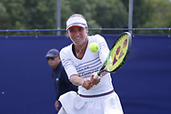 Bibiane Schoofs of Holland plays a forehand during the Women's Singles Quarter Final at  the Fuzion 100 Ilkley Lawn Tennis Trophy Tournament held at Ilkley Lawn Tennis and Squad Club, Ilkley, United Kingdom on 19 June 2019.