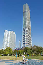 ADIA building and Landmark tower on Corniche in Abu Dhabi United Arab emirates