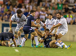 June 16, 2018 - Houston, Texas, US - Scotland Men's Rugby Team Sam Hidalgo-Clyne (21) looks to pitch the ball during the Emirates Summer Series 2018 match between USA Men's Team vs Scotland Men's Team at BBVA Compass Stadium, Houston, Texas (Credit Image: © Maria Lysaker via ZUMA Wire)