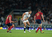 Twickenham, England.  Sam BURGESS look's for support during the QBE International. England vs France [World cup warm up match]  {DOW  {DATE}  [Mandatory Credit. Peter SPURRIER/Intersport Images.