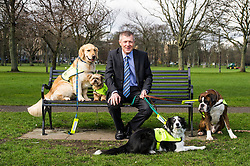 Pictured: After a good walk; a nice rest; Willie Rennie with Harvey (Boxer), Mercy (Llasa Apso),  Mack (golden retriever) and Kiera (Collie)<br /> <br /> The Scottish Liberal Democrat leader Willie Rennie highlighted analysis revealing the number of working days lost across Scotland due to depression as he met therapy animals from Canine Concern Scotland, a charity which supports people with mental health issues and other conditions. <br /> <br /> Ger Harley | EEm 31 March 2016