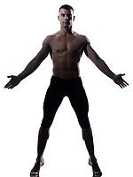 caucasian man gymnastic balance isolated studio on white background