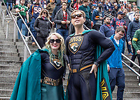 American Football - 2019 NFL Season (NFL International Series, London Games) - Houston Texans vs. Jacksonville Jaguars<br /> <br /> Jacksonville Jaguars fans pose in superhero suits and enjoy the build up to the game at Wembley Stadium.<br /> <br /> COLORSPORT/DANIEL BEARHAM
