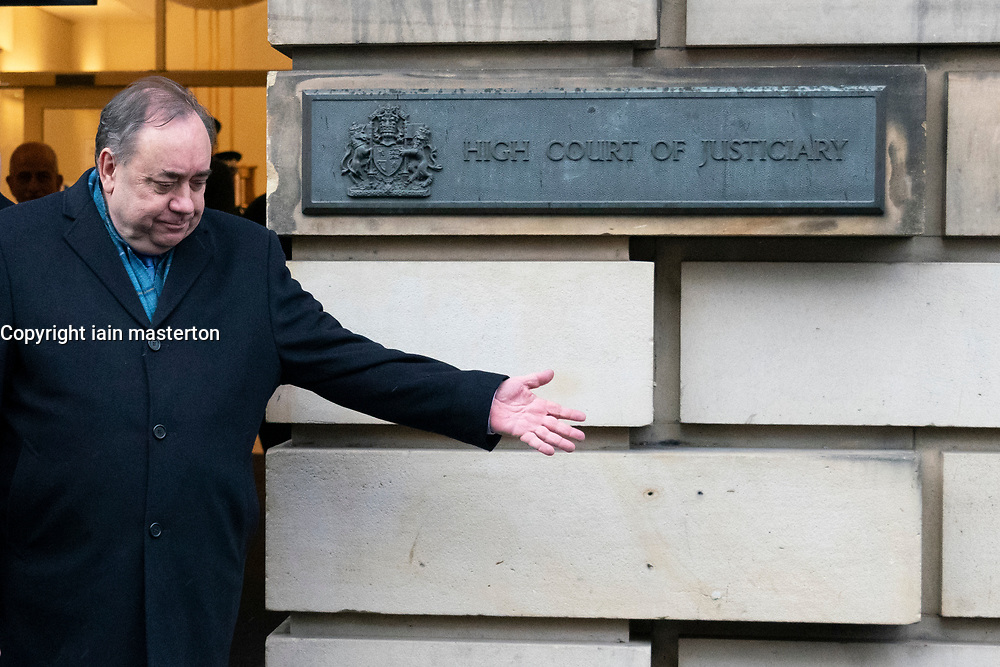 Edinburgh, Scotland, UK. 9 March, 2020.  Alex Salmond leaves the High Court in Edinburgh after the first day of his trial. He is accused of various sexual offences all of which he denies. Iain Masterton/Alamy Live News